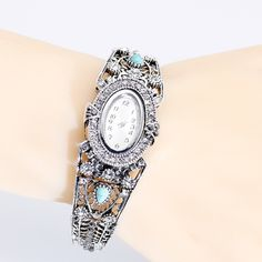 Retro Vintage Marchasite Style Bangle Watch – Treasured Scraps