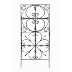 """Achla Design Aldrich Trellis by Achla. $179.98. NEW!. Slides together for easy assembly. Graphite Powder coated. Wrought Iron. Coordinates with all """"Aldrich"""" Trellis Pieces. VFT-22 Features: -Trellis.-Incorporates the pattern from a colonial era gate at a Williamsburg property.-Powder coated to protect from rust.-Sturdy enough for planting climbing roses.-Good looking as a standalone feature when the garden is not in bloom.-Easily installed in-ground.-Maintenance free.-Co..."""