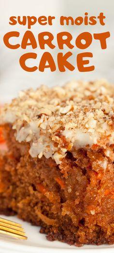 Moist Carrot Cake Recipe: Cream cheese frosting for carrot cake: Carrot Poke Cakes, Easy Carrot Cake, Healthy Carrot Cakes, Carrot Recipes, Amazing Carrot Cake Recipe, Carrot Cake Topping, Easter Recipes, Poke Cake Recipes, Delicious Cake Recipes