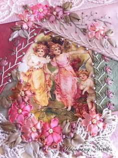 I ❤ crazy quilting & embroidery . . .  Started on a new phone pouch with a lovely image of sweet little fairies. This pouch will form a set with an eyeglass case. Closeup ~By Manya, Humming Needles