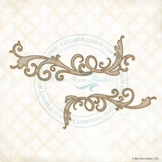Reneabouquets New Listing~Blue Fern Studios Laser Cut Chipboard Whimsy Flourishes Set Of Two