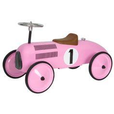 Loopauto metaal Roze race 1+ Mooi en stoere loopauto van het merk Marquant. Staat tevens leuk op de kinderkamer, maar ook in de woonkamer. Deze metalen race auto is mede door de lange wielbasis zeer stabiel en kan tevens korte bochten draaien. Afmetingen lxbxh ca.L:80 x B:38 x H: 28 cm(zitje) / Stuur: 40 cm. Geschikt vanaf 1 jaar. Voor binnen en buiten.