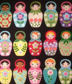 Matryoshka Russian Nesting Dolls Fabric By por CutiePieCraftSupply Matryoshka Doll, Kokeshi Dolls, Russian Art, Russian Babushka, Wooden Dolls, Felt Ornaments, Felt Art, Paper Dolls, Bunt