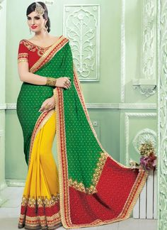 Awesome Yellow & Green Georgette Party Wear Designer Sarees.