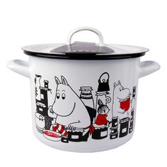 This white pot features characters from the Moominvalley. The pot is suitable for use in the kitchen. The enamel surface is extremely durable.