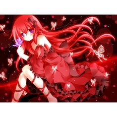 Anime For > Anime Girl Wearing A Red Dress ❤ liked on Polyvore featuring dresses, animal dresses, red dress e red day dress