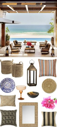 Cabo Beach House: Get The Look Cabo Williams Sonoma Home Beach Cottage Style, Coastal Cottage, Coastal Homes, Coastal Style, Coastal Decor, Beach Condo, Beach House Decor, Beach Bum, Summer Beach