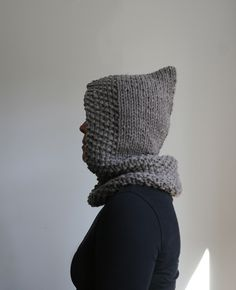 Hand Knit, Hooded Cowl.