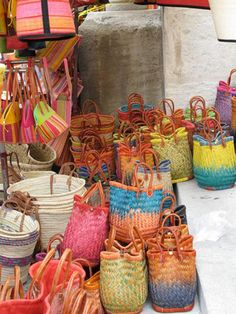 colorful baskets were at the weekly farmers' market in Saint-Rémy de Provence, France