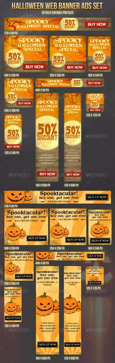Halloween Banner Ads Set  #GraphicRiver         These banners are specially designed for halloween special offers, sales and promotions:  	 - 10 different sizes, 2 concepts for each size - Fully editable PSD files - Well organized layers - Almost all elements are vector shapes or smart objects so you can resize them.  	 You get: - 20 different PSD files (one per each banner) - Documentation (typography info, all fonts are free to download).     Created: 25May13 GraphicsFilesIncluded…