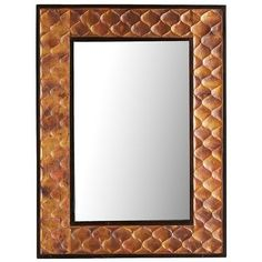 Hanging a mirror opens up a room. Besides giving the illusion of more space, our Larson Mirror adds a metallic spark to your decor. The textured wooden frame is enhanced with a clever cloak of copper for a look that's classic yet modern.