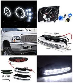 F250 F350 F450 F550 Black Halo Projector Headlights w/LED Bumper Fog Lamp  F250 F350 F450 F550 Black Halo Projector Headlights w/LED Bumper Fog Lamp Brand new in original packaging. Exactly the same as shown in the picture! Comes with both headlights and a pair of high quality chrome housing LED fog lights. H1 light bulbs included for HIGH/LOW beam. High quality black housing clear lens projector headlights with dual halo & LED. Enhance visibility during night times, rain, snow or fo..