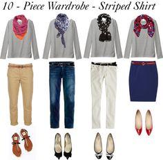 """10 - Piece Wardrobe - Striped Shirt"" by bluehydrangea ❤ liked on Polyvore"