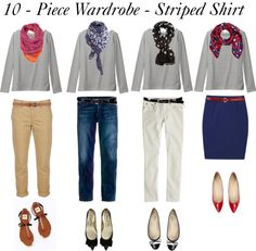 """10 - Piece Wardrobe - Striped Shirt"" by bluehydrangea ❤ liked on Polyvore"