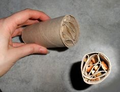 Foraging toy for rodents and parrots made from multiple toilet paper rolls.