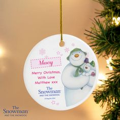 The Snowman and the Snowdog Pink Round Decoration