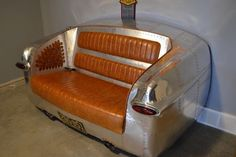 1949 Ford couch inspired by bomber planes. Garage Furniture, Car Part Furniture, Automotive Furniture, Automotive Decor, Recycled Furniture, Handmade Furniture, Custom Furniture, Furniture Design, Modern Furniture
