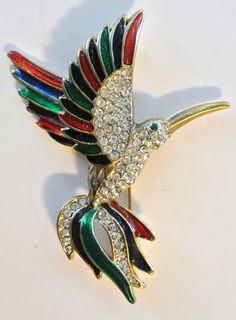 Vintage Enamel Flying Bird Brooch.