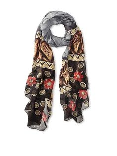 59% OFF MILA Trends Women's Chiffon Batik/Hand Block Print Scarf, Grey, One Size