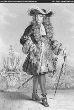 Drawing of Louis XIV in a justacorp, waistcoat, breeches, jabot and lace trimmed shirt, cravat, periwig and used hat.