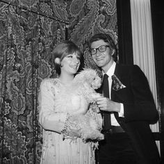 """Barbra Streisand and Yves Saint Laurent, backstage during the """"Funny Girl"""" Broadway run, 1965."""