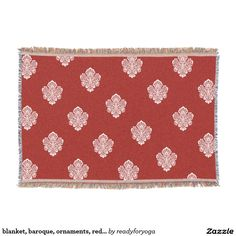 blanket, baroque, ornaments, red, cherry, white throw blanket