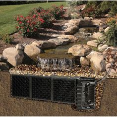 Splendid Pond Free Waterfall Oudoor Garden Design In Canada , Outdoor Landscaping Plans With Water Features And Elements Of Pondless Waterfall Design Perfect For Your Home Garden Decorating Ideas In Outdoor Category Garden Waterfall, Waterfall Fountain, Waterfall Design, Outdoor Water Features, Water Features In The Garden, Backyard Water Feature, Ponds Backyard, Backyard Waterfalls, Pond Design