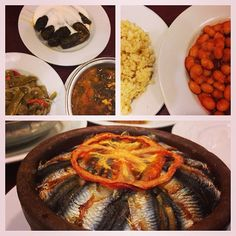 instanbulEatsTour: Beyoglu: I love how many eg dishes there r @ Lokanta lunches: pkld gr beans, dolma. Greens, bulgar, beans, anchovies baked on rice