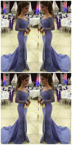 Appliques Prom Dress with Off Shoulder Full Sleeves Custom Made Mermaid Long Formal Evening Dress Sexy Evening Dress, Mermaid Evening Dresses, Prom Dresses Blue, Formal Evening Dresses, Strapless Dress Formal, Girls Dresses, Party Dresses, Photos Of Dresses, Side Slit Dress