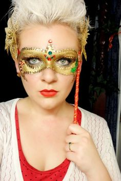 Gems and sequins accent a golden Christmas inspired Masquerade makeup mask by 'Makeup By MyPrettyFlesh'.