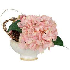 Hydrangea Faux Floral Arrangement in Cream Ceramic Pot