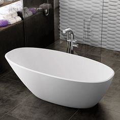 Victoria and Albert MOZ-N-SW-OF White Mozzano Soaking Bathtub for Freestanding Installations with Reversible Drain and Overflow