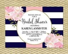 This bridal shower invitation boasts bold navy blue and white stripes, a hint of gold glitter, and beautiful pink watercolor peonies.