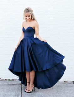 Simple Sweetheart Sleeveless High-Low Navy Blue Prom Dress with Pleats,MB 193