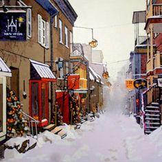Noël à Québec, Patrick Kinn  #Art #Quebec #Toile #Artwork #peinture #painting #artist #Canada #HomeDecor Canada, Artwork, Art Gallery, Street View, Painting, Artist, Google, Places, Paint