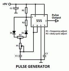 This is a pulse generator with adjustable duty cycle made with the 555 timer IC. The circuit is an astable multivibrator with a pulse duty cycle. Hobby Electronics, Electronics Basics, Electronics Storage, Electronics Gadgets, Electronics Projects, Electronics Components, Electronic Circuit Projects, Electrical Projects, Electronic Engineering