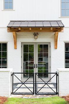 Exterior Paint, Exterior Design, Gray Exterior, Front Door Overhang, Front Doors, English Farmhouse, Small English Cottage, Modern Farmhouse Exterior, Farmhouse Front