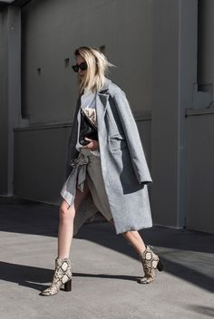 fall / winter - summer outfits - fall outfits - casual outfits - fall outfits - street style - street chic style - business casual - office wear - grey coat + white turtleneck sleeveless sweater + striped shirt skirt + snake print booties + black sunglasses + black snake print clutch