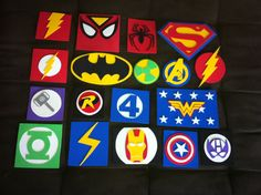 Super Hero symbols made with craft foam. For my son's bedroom :) Make super hero collage - Hang in room Boys Superhero Bedroom, Avengers Bedroom, Superhero Party, Kids Bedroom, Hero Symbol, Foam Crafts, Craft Foam, Girl Scout Swap, Crafts For Kids