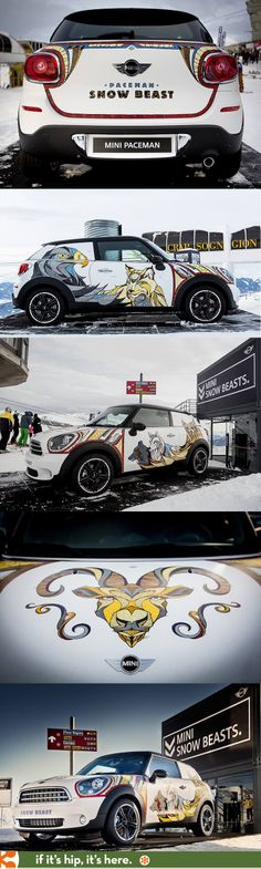 A 'Snow Beasts' MINI Paceman decorated by Illustrator Andreas Preis.