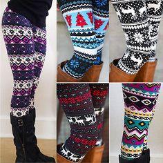 Warm Womens Winter Christmas Snowflake Knitted Leggings Cotton Stockings Pants