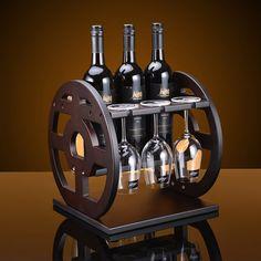 Wine Rack Bar, Wood Wine Racks, Wine Glass Holder, Wine Bottle Holders, Bar Vintage, Wine Rack Furniture, Wine Rack Design, Alcohol Dispenser, Wine Caddy