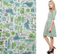 Novelty Print Dress 60s Mini LION TIKI PAISLEY by ShopExile