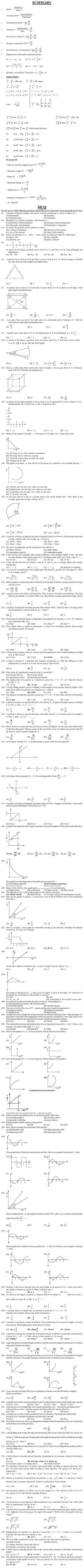Physics Question Bank for Entrance Exam   Kinematics   AglaSem
