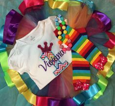 Rainbow chevron birthday outfit - First birthday party rainbow bright brite theme - great for Candyland birthdays too - can be done in almost any age BirdieJamesEandS on etsy