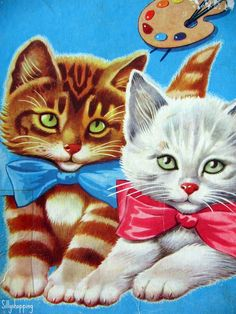 Vintage Tom Tas Kinder Puzzle Cute Kittens, 16 wooden pieces. Condition is vintage, the box has wear and damage but the puzzle itself is