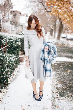 Chicwish Grey Wool Dress