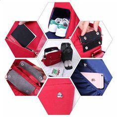 सुश्री QEHIIE यात्रा बैग 2018 फैशन बड़े क्षमता ठोस रंग निविड़ अंधकार सामान बैग यात्रा आयोजक आवश्यक महिलाओं बैग