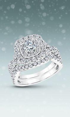 Round Diamond Double Cushion Halo Bridal Set 2ctw via REEDS
