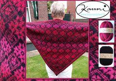 *15203* Prachtig resultaat van één van onze cursisten van de cursus fair isle shawls. Zeer bijzonder mooie kleurcombi met de kauni garens. http://bloemendalwol.nl/59-kauni